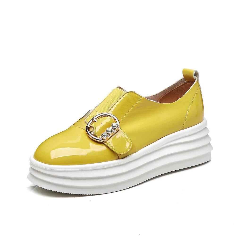 Plate Zapatos Vulcanisées Plat jaune En Pour noir Chaussures Apricot forme Chaussure Diamant Cuir Vache Femme Mujer Femmes Sneakers Décoration Coins De waxpZIfq