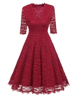 Women Elegant Sexy Skater Lace Dress Red Blue Evening Party Bridesmaid Mother Of Bride Half Sleeve Big Size Renda Robe Femme