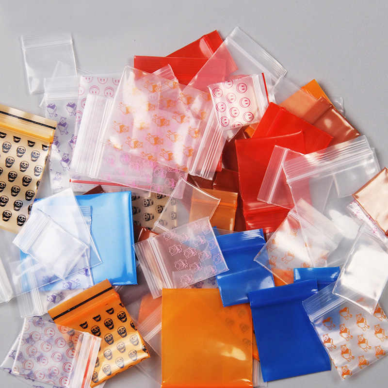 100pcs Mini Zip lock Bags Plastic Packaging Bags Small Plastic Zipper Bag Ziplock Bag Ziplock Pill Packaging Pouches More Size