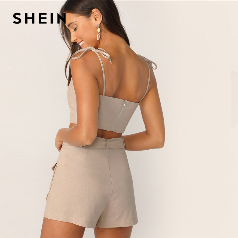 Image 2 - SHEIN Tie Strap Top And Adjustable Belted Shorts Set Sexy Khaki 