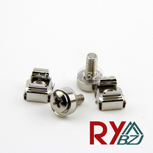 50pcs/lot  Cage Nut M5 M6 Crown Screw M5*17/21, M6*17/21 Captive Nuts Server Rack Mount Nut Steel Nickel plated Stainless steel