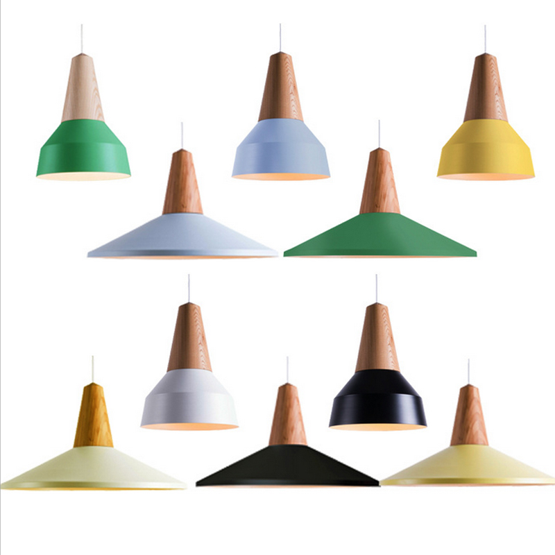 Pendant Lights Real Wooden+Aluminum Colorful Pendant Lamps For Restaurant coffee Bar Home Decoration luminaire lamparas+led lamp modern pendant lights aluminum wire pendant lamps for restaurant bar luminaire pendientes home decoration lamparas