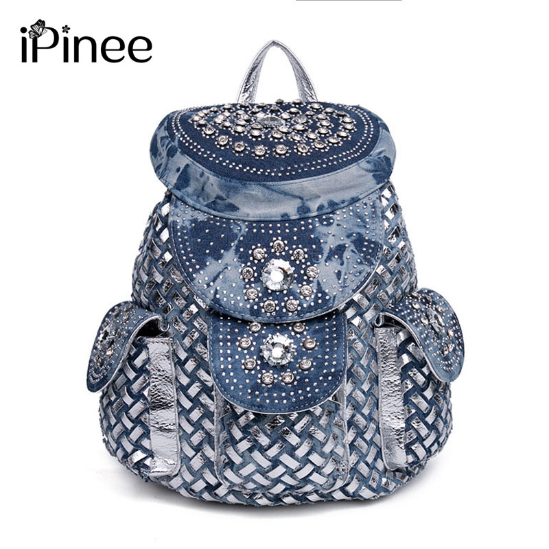 iPinee Fashion New Rhinestone Women Backpack Denim Backpack large capacity Travel Bag Female Rucksack Shoulder bag Mochila