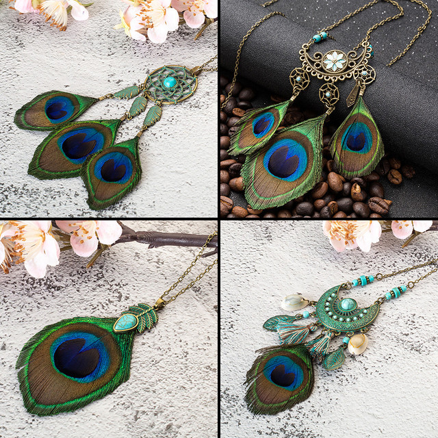 Bohemian Tassel Peacock Feather  Long Necklace