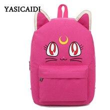 Harajuku Стиль Сейлор Мун холст рюкзаки для девочек-подростков школьные сумки милые раза Cat Книга сумка рюкзак бренд мешок DOS Femme