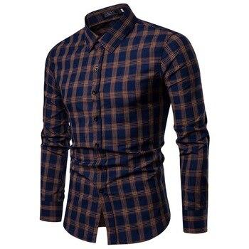 Plaid Shirt 2018 New Autumn Winter  Red Checkered Shirt Men Shirts Long Sleeve Chemise Homme Cotton Male Check Shirts  khaki Рубашка