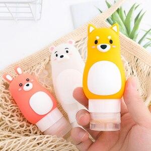 Image 1 - Animal portátil dos desenhos animados urso pinguim silicone caso de viagem organizador shampoo chuveiro gel loção armazenamento recarregável garrafa