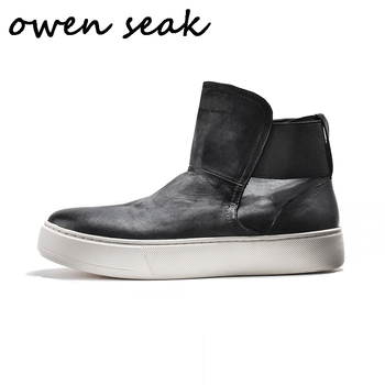 Owen Seak Men Shoes High Ankle Luxury Trainers Genuine Leather Sneaker Winter Snow Boots Casual Brand Flats Shoes