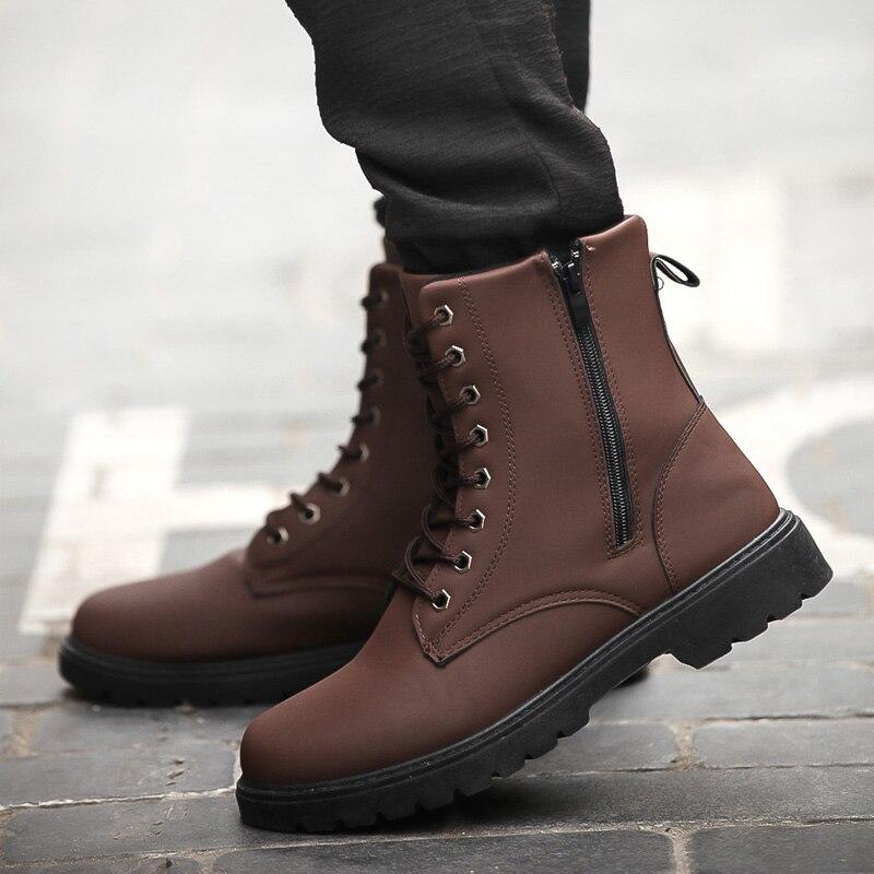 Hommes chaussures de sécurité travail haute cheville chaussures pour hommes décontracté britannique travail bottes à la mode de luxe chaussures hommes décontractées bottes Zipper