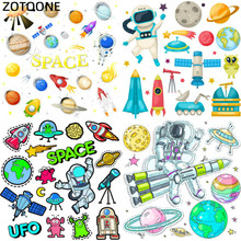 ZOTOONE Space Heat Transfer Patches for Clothing Printed DIY Iron on Letter UFO Planet Patch for Kids T-shirt Applique Vinyl G цена