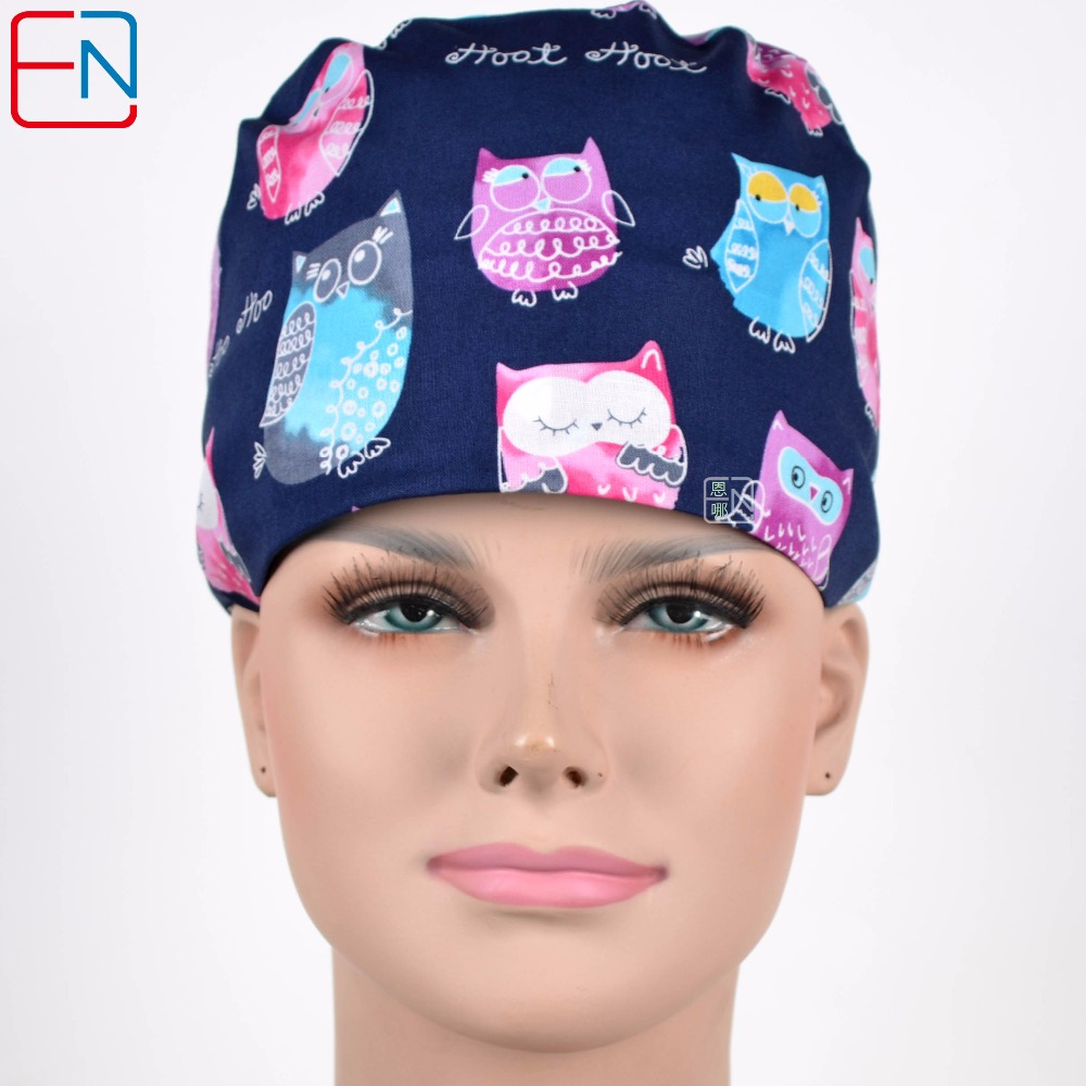 Hennar Medical Scrub Caps  With Sweatband In Blue With Owl Design 2 Sizes For Choice