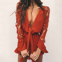 Sleeves Lace Deep V Sexy Sleeveless Backless Siamese Short Coveralls Women Ruffles Jumpsuit Romper Bodysuit 2017