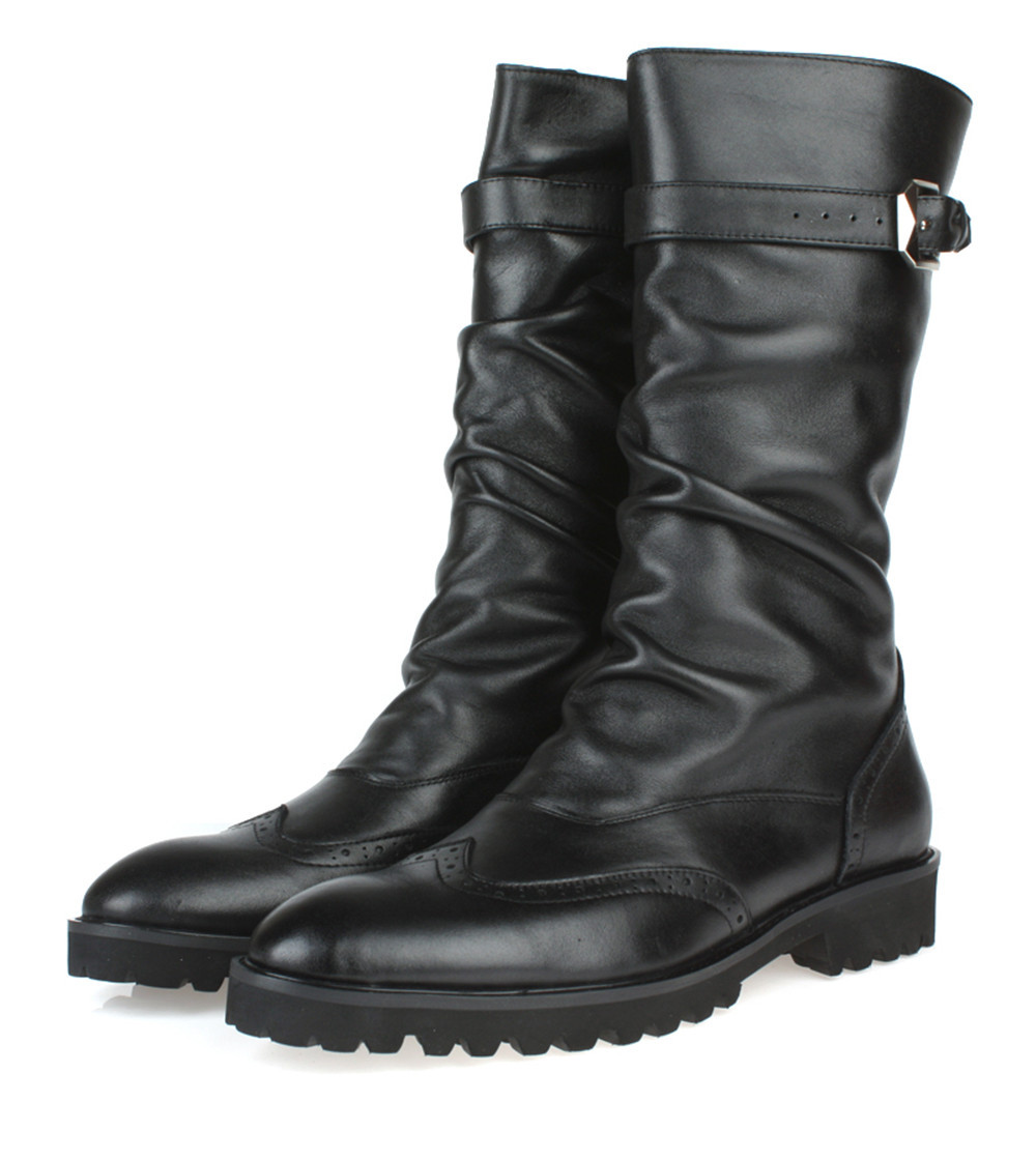 fashion black winter mens boots genuine leather