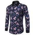 Men's shirts 2016 spring and autumn new men's casual long-sleeved shirt printing flag pattern plus size XXXL