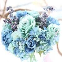2pcs Lot Simulation Silk Flower Bouquet Rose Luxury Artificial Flower Bouquet Bride Bouquet Wedding Flowers Home