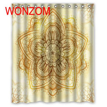 WONZOM Shower Bathroom Waterproof Accessories Curtains For Decor Modern 3D Polyester Fabric Flower Bath Curtain with 12 Hooks