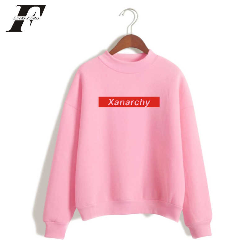 LUCKYFRIDAYF 2018 Lil Xan algodón sin capucha sudaderas mujeres hombres Hip Hop cuello alto sudadera suéter manga larga