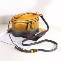 Luxury Round Bag Genuine Retro Color Gradient Leather Women Round Handbag Circular Women Work Bag Feminine