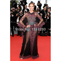 CE4 Cannes Film Festival Sexy A-line Scoop Long Sleeve Lace Long Evening Party Celebrity Dresses 2017 Carpet Gown