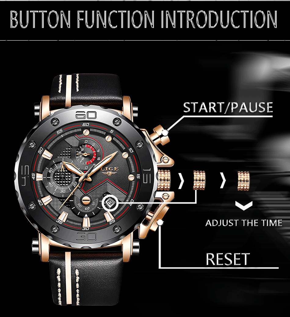 2019LIGE New Fashion Mens Watches Top Brand Luxury Big Dial Military Quartz Watch Leather Waterproof Sport Chronograph Watch Men 9
