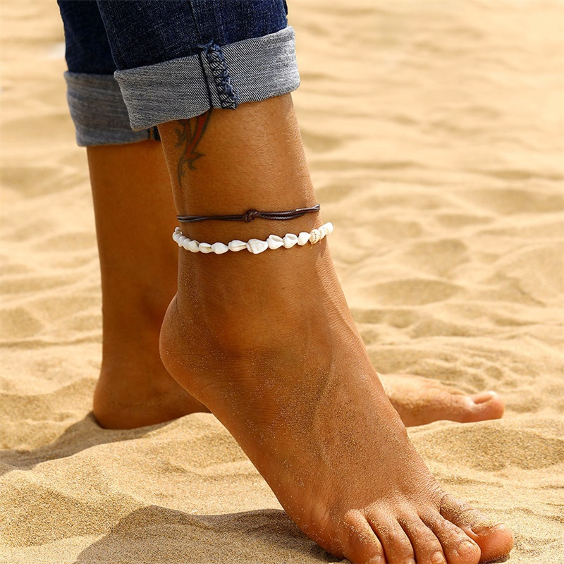 Fashion Retro Leather Rope Braided Conch Handmade Beaded Multi-layer Beach Wind Anklet Bohemian Ankle Foot Jewelry A Direct Sale