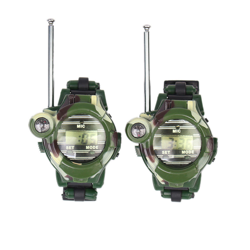 2Pcs Multi-functional Two Way Radio Toy with Compass Magnifier Reflector Walkie Talkie Toys Children Military Style Wrist Watch