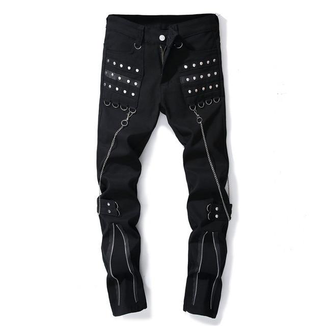 DJ Night Club Black Zipper Men's Jeans