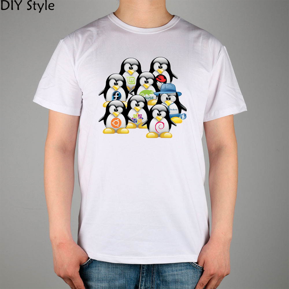 A group of penguins LINUX T-shirt cotton Lycra top