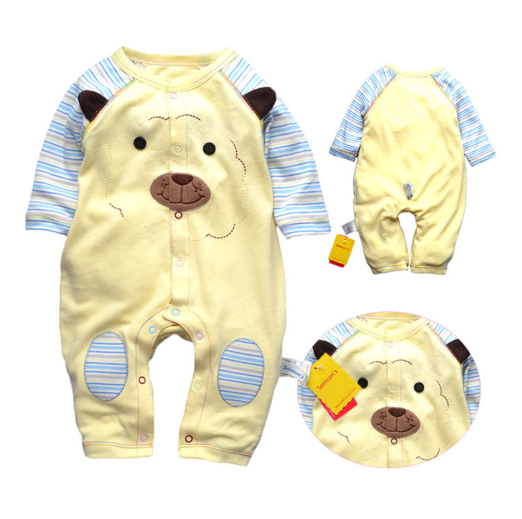 2015 new long sleeve baby rompers, top quality jumpsuit newborn baby clothing for 3-12M bebe, 100% cotton baby clothes