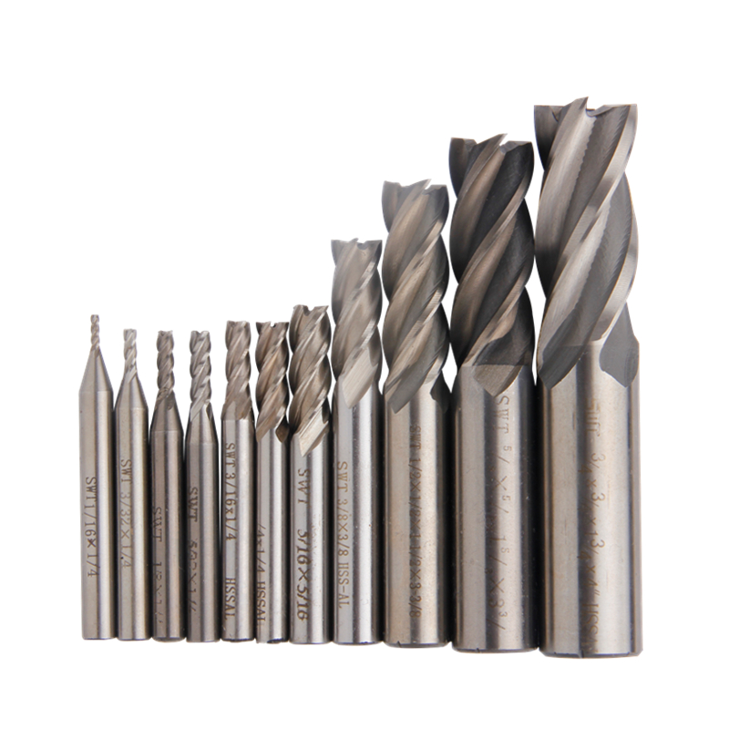 11 pcs Fraise Pouces 1/16 -3/4 Routeur Peu Carbure CNC Mill 4 Lames En Métal Cutter Bits