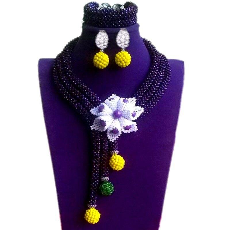 Ensembles de bijoux fins fleurs femmes noir et blanc ensembles de bijoux avec des boules grand Dubai ensembles de bijoux pour les femmes livraison gratuite 2018