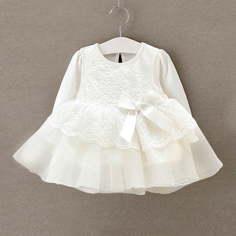 Recém nascido vestido da menina do bebê infantil bebe laço branco vestido de bebê vestidos de festa de casamento mangas compridas meninas batismo 1 ano