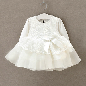 Vestido infantil bebê recém-nascido, renda branca, vestido de festa de casamento, mangas compridas, batismo para meninas 1 ano