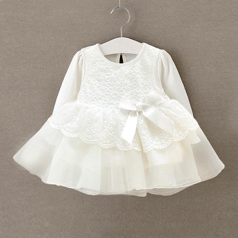 nowo narodzona dziewczynka sukienka vestido infantil bebe biała koronkowa sukienki dla dzieci wedding party suknie długie rękawy dziewczyny chrzest 1 rok