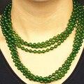 Manera libre del envío 36 inch ronda verde jade 6mm cuentas de collar de las mujeres románticas de largo cadena de joyería precio al por mayor GE1375