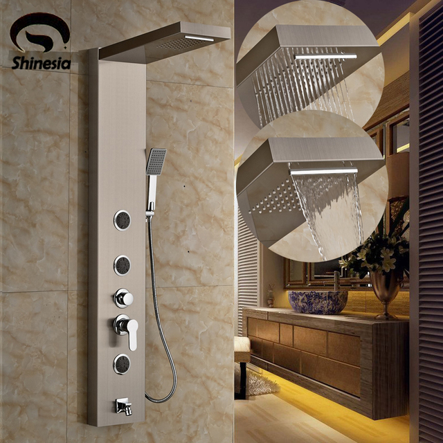 Nickel Brushed Shower Column Faucet Stainless Steel Massage Jets Shower  Panel With Hand Shower Wall Mount