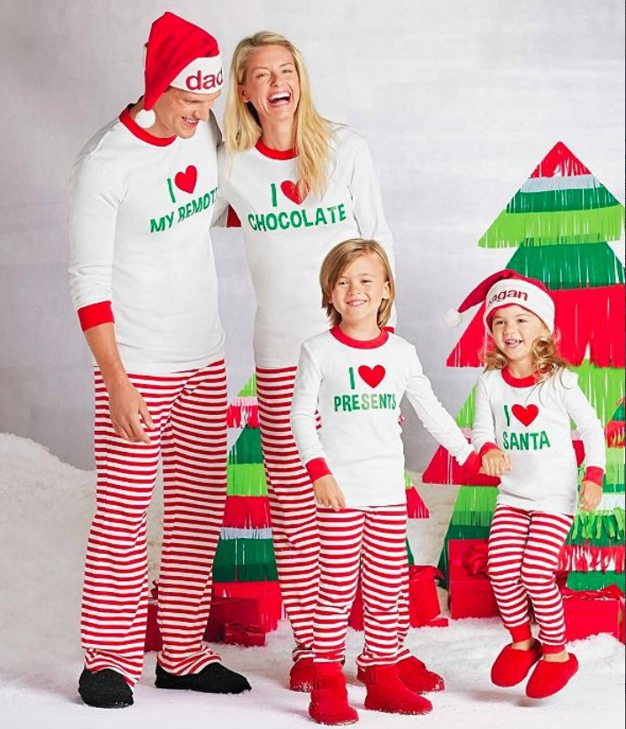 fashion letters printed white shirts + red and white striped pants santa outfit for matching family christmas pajamas set