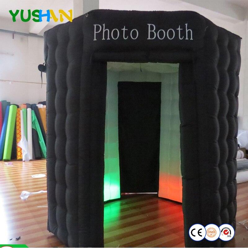 2.1 m LED bande sur le bas octogone gonflable cabine photo avec 3 portes et couverture de rideau Photo stand de toile de fond pour les fêtes