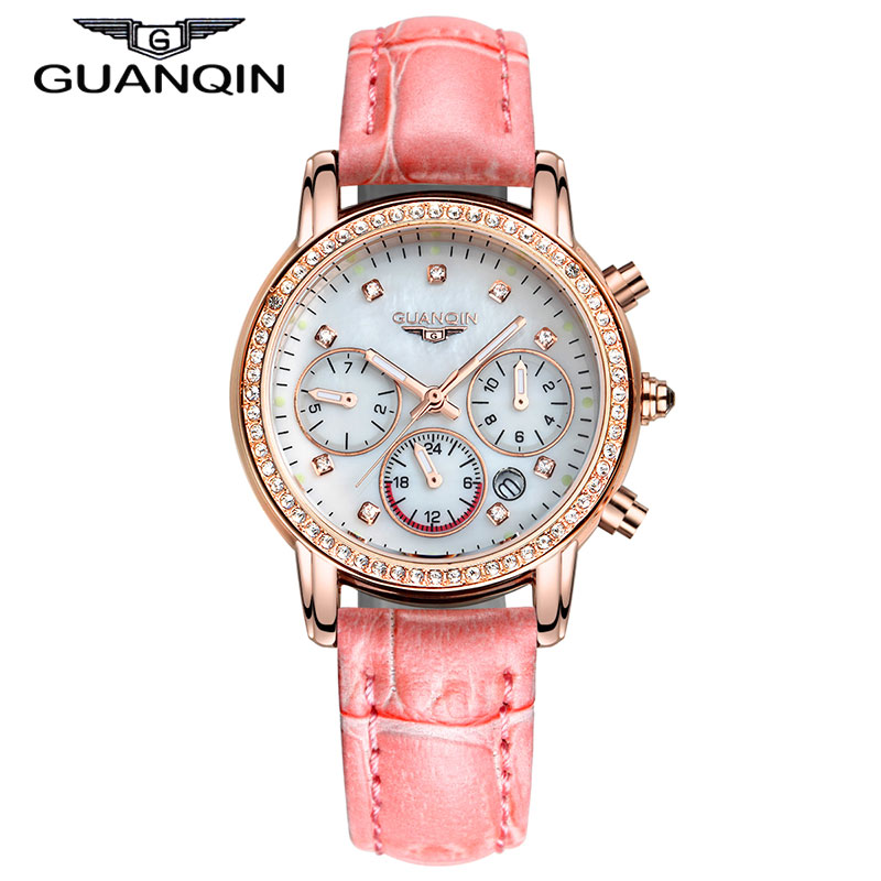 ФОТО GUANQIN GQ15001 Dressport Brand Luxury Ladies Watches Leather Women Watches Fashion Casual Female Wristwatches Montre Femme