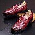 Новый 2017 мужчины платформы башмаки оксфорд обувь poointed toe скольжения на мужчин одеваться обувь Картины Аллигатора натуральная кожа бизнес обувь