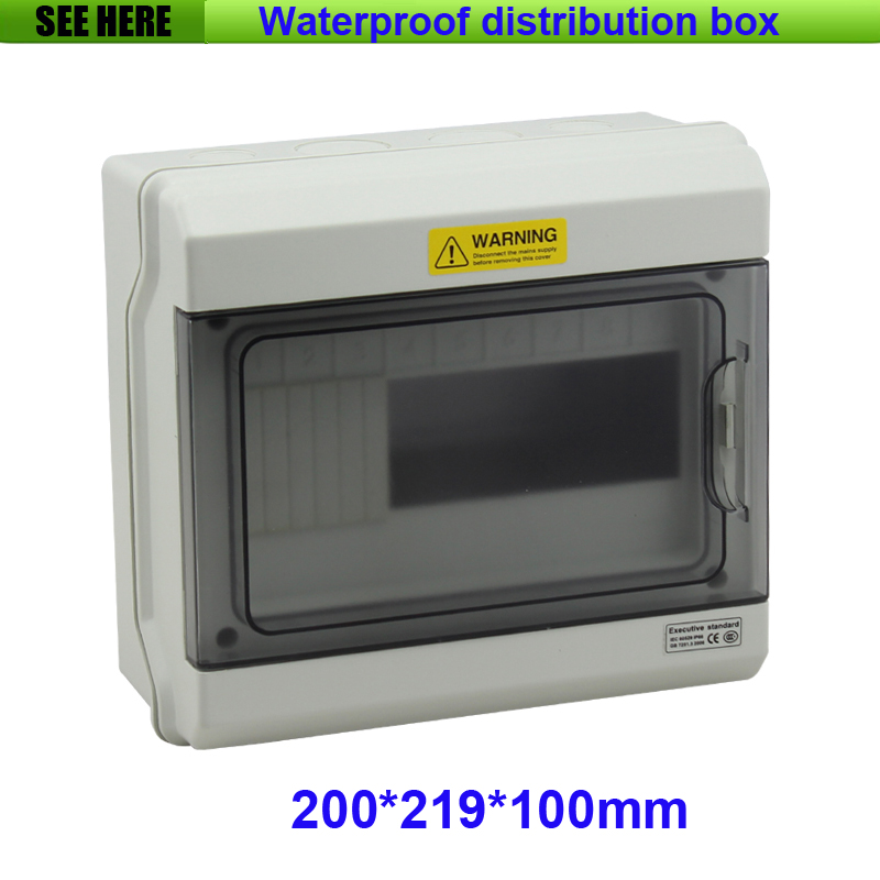 Free Shipping Top Quality PC Material IP66 Clear Cover Outdoor Distribution Box 9 Way Circuit Breaker Box 200*219*100mm