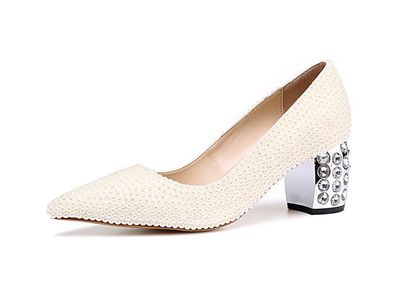 Women Elegant White Pearls Embellished Pointed Toe Shallow Pumps Summer Crystal Decoration Heel Slip On Dress Wedding Shoes women gold silver leather white pearls decoration pumps summer fashion pointed toe slip on dress shoes high thin heel shoes