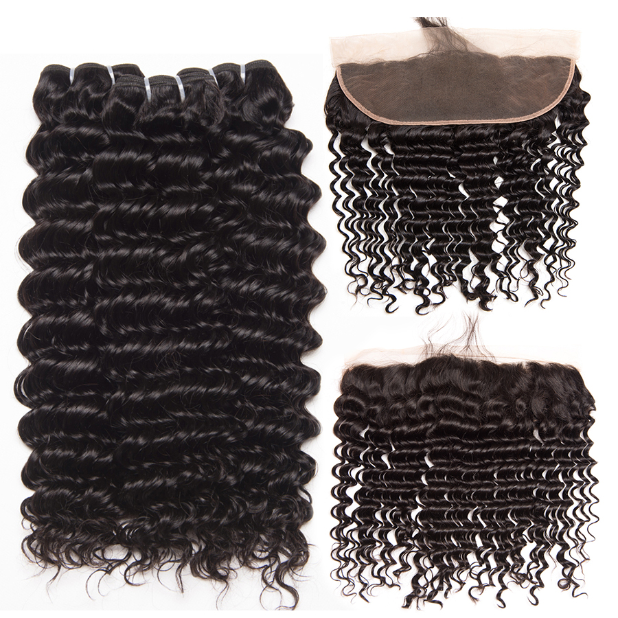Deep Wave Human hair 3 Bundles With Closure Brazilian Hair Weave Bundles ALIPOP Lace frontal Closure With Baby Hair Non Remy (2)