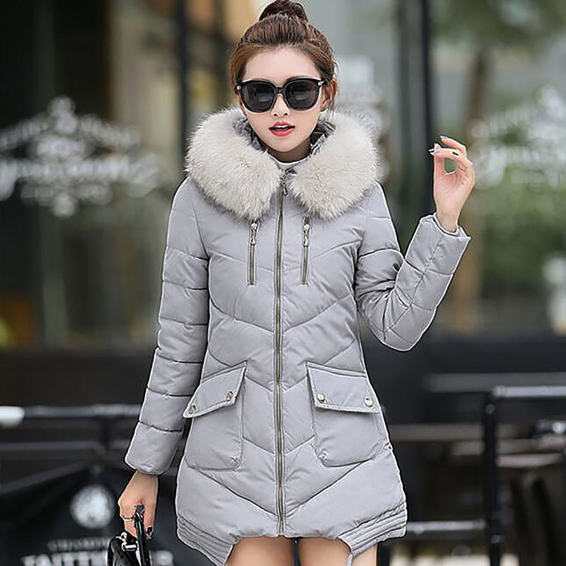 New 2016 Winter Warm Down Cotton Jacket Women Faux Fur Collar Thick Slim Hooded Long Parkas Coat Female Casual Outwear new women s fashion authentic korean slim fur collar down jacket female long thick warm white duck down jacket for snow h1013