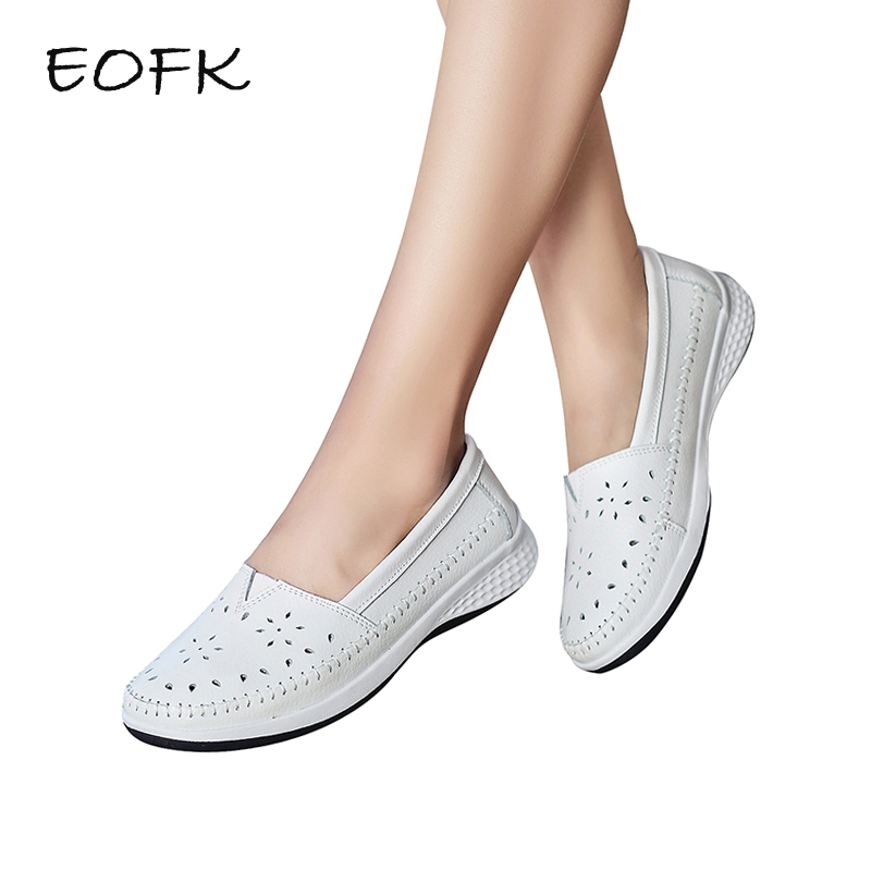 EOFK 2018 Handmade Summer Hole Women Loafers Flat Leather Moccasin Shoes Woman Slip On White Ladies Shoes Casual Flats Moccasins eofk women ballet flats women s flat shoes casual cow suede leather loafers shoes woman butter fly slip on solid ladies shoes