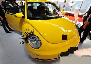 Image 3 - 1 Pair Creative 3D Charming Black False Eyelashes Cute Fake Eye Lash Sticker Car Headlight Decoration Funny Decal For Beetle