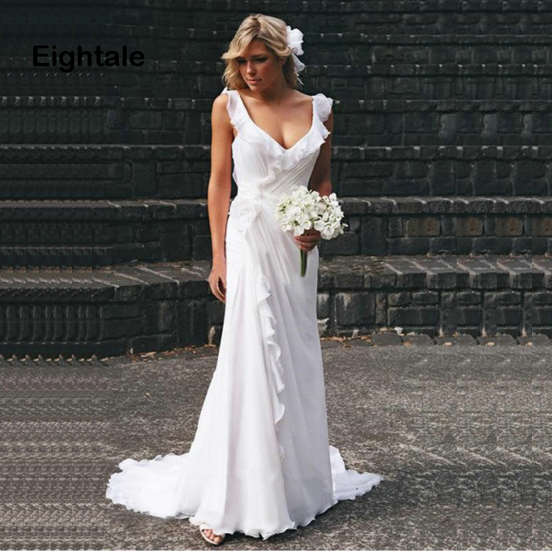 Eightale Beach Wedding Dresses Plus Size Open Back Bridal Dresses Chiffon Pleats White Ivory Simple Boho Wedding Gown 2019
