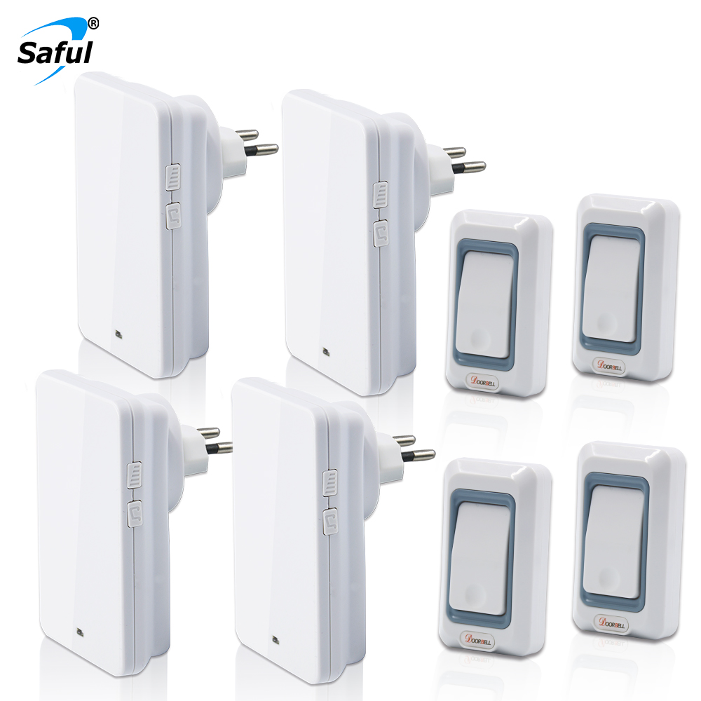 где купить Saful Wireless Doorbell Waterproof with 4 Outdoor Transmitters + 4 Doorbells Receiver White color Doorbell EU/US/UK/AU Plug по лучшей цене