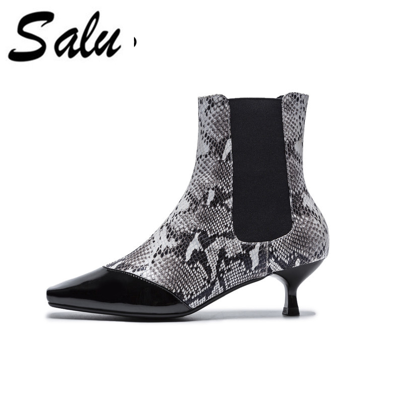Salu Women Ankle Boots All Match Square High Heel pointed Toe Design Women Fashion Basic Ankle Boots Size 34-39 women s ankle boots strappy pointed toe vogue comfy all match shoes