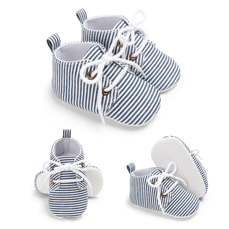Walk Canva Fashion Crib Infant Baby Shoes Stripped Kids Girls Sole Sneaker Boys